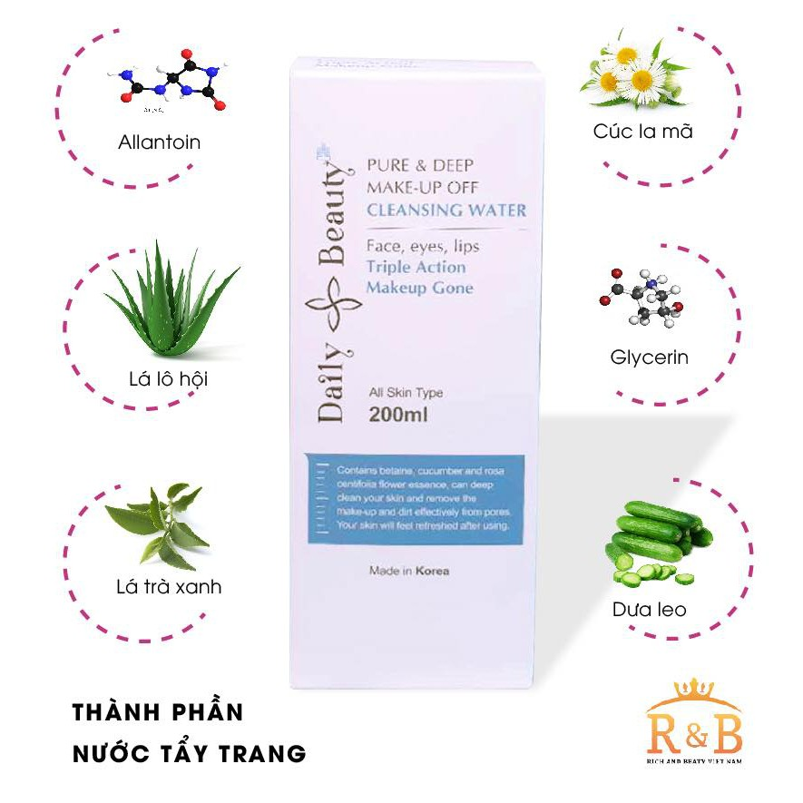 Nước tẩy trang Daily Beauty Pure & Deep Make-up Off Cleansing Water